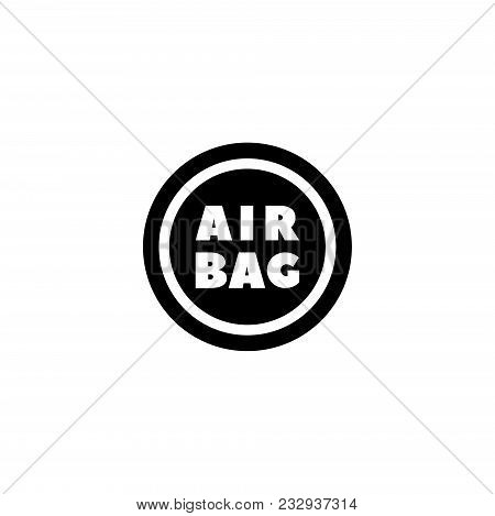 Steering Airbag. Flat Vector Icon. Simple Black Symbol On White Background