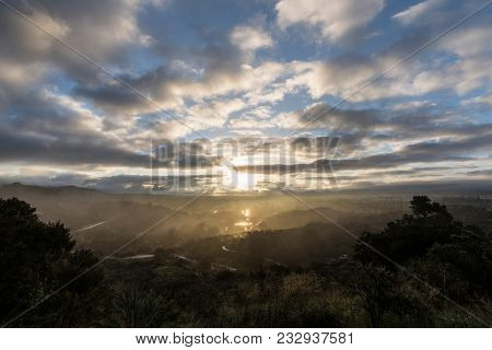 Dawn view at Santa Susana Pass State Historic Park in the San Fernando Valley area of Los Angeles, California.