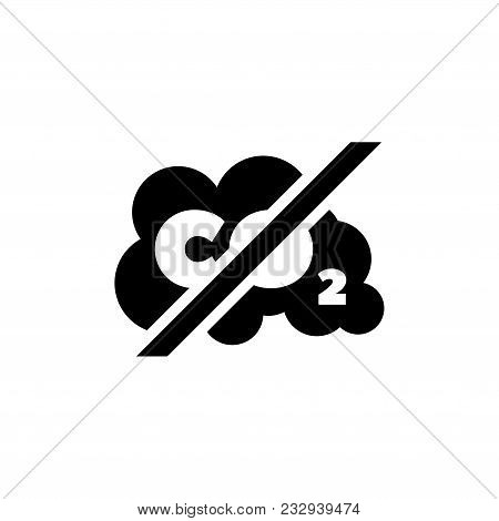 Prohibiting Emissions Carbon Dioxide Co2. Flat Vector Icon. Simple Black Symbol On White Background