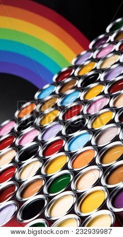 Rainbow, tin metal cans with color paint