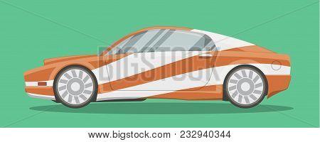 Vector Resizable Modern Sportscar Illustration. Brandless Race Car Side View Cartoon Style.