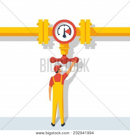 Man Working Standing On The Pipeline Opening The Valve. Gas Pipeline. Oil And Gas Operations. Flow C