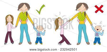 Naughty Kids (sibling) Vs. Good Kids. Good Behaving Children Vs. Children Fighting Mother's Attentio