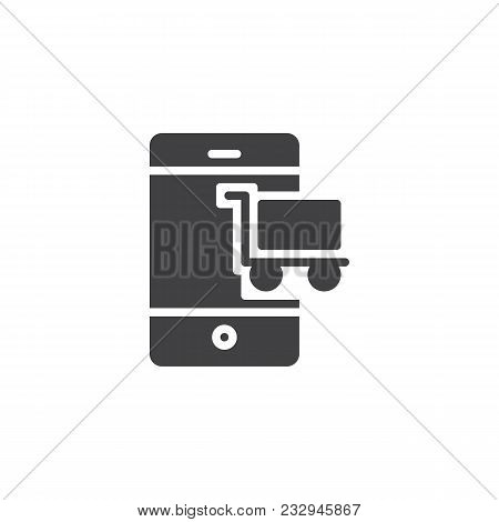 Mobile Phone With Shopping Cart Vector Icon. Filled Flat Sign For Mobile Concept And Web Design. Mob