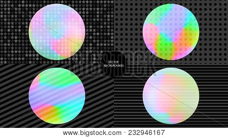 Holographic backgrounds. Pop art. Holography textures set. 80th or 90th art. Trendy wallpapers. Fash