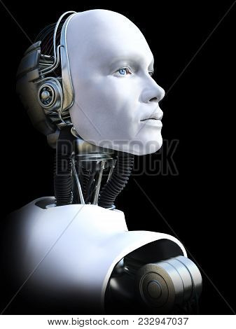 Face Portrait Of A Male Robot, 3d Rendering. Black Background.