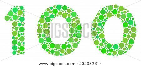 100 Text Composition Of Dots In Variable Sizes And Eco Green Color Tints. Vector Circle Elements Are