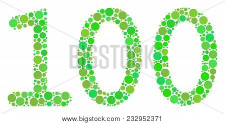 100 Text Composition Of Circle Elements In Variable Sizes And Eco Green Color Tones. Vector Round El