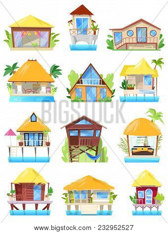 Villa Vector Tropical Resort Hotel On Ocean Beach Or Facade Of House Building In Paradise Illustrati