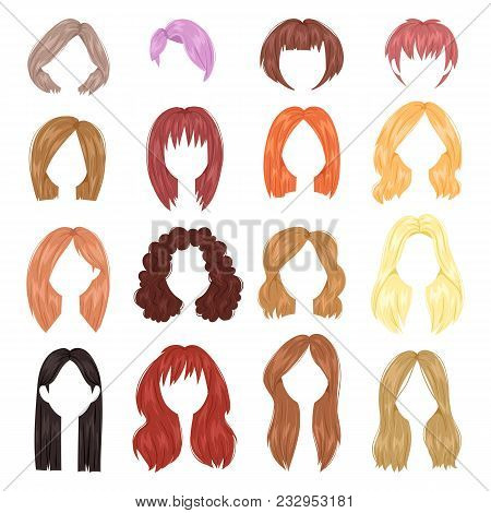 Hairstyle Woman Vector Female Haircut On Short Or Long Hair And Wigs Illustration Hairdressing Or Ha