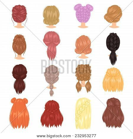 Braided Hair Vector Woman Hairstyle With French Braid Or Ponytail Illustration Hairdressing Or Hairc