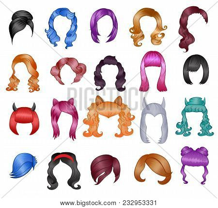 Woman Hairstyle Wigs Vector Halloween Haircut And Female Fake Hair Style Or Bobwig Illustration Hair