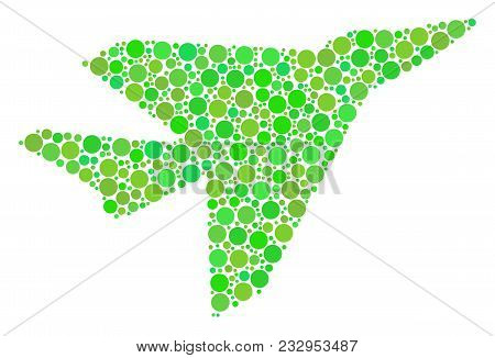 Airplane Intercepter Composition Of Circle Elements In Different Sizes And Green Color Tints. Vector