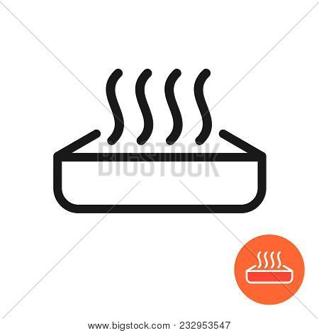 Warm Up Food Icon. Heating Symbol With Meal Container And Heat Waves. Preheat In Microwave Oven Sign