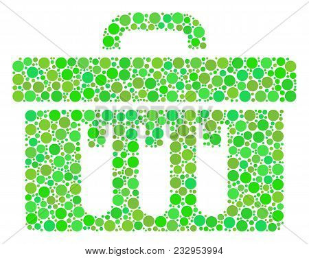 Analysis Mosaic Of Filled Circles In Various Sizes And Fresh Green Shades. Vector Round Dots Are Com