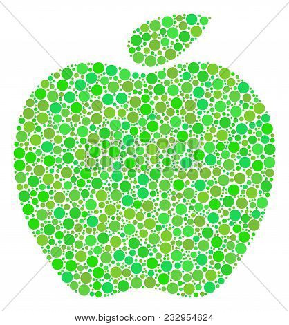 Apple Mosaic Of Dots In Various Sizes And Fresh Green Color Hues. Vector Dots Are Composed Into Appl