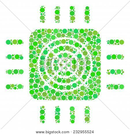 Asic Processor Mosaic Of Filled Circles In Different Sizes And Green Color Tints. Vector Round Dots