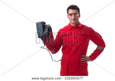 Young worker with belt sander sanding power tool isolated on whi