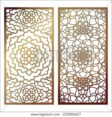 Set Of Vector Laser Cut Panel. Pattern Template For Decorative Panel. Wall Panels Or Partition. Jigs