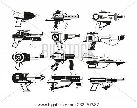 Monochrome Illustrations Of Futuristic Weapons For Astronauts. Vector Military Gun Weapon, Future Pi