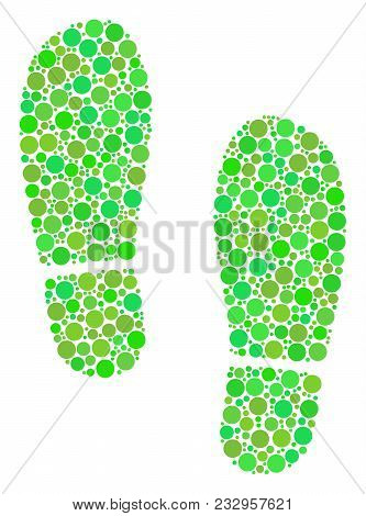 Boot Footprints Composition Of Circle Elements In Different Sizes And Ecological Green Color Hues. V