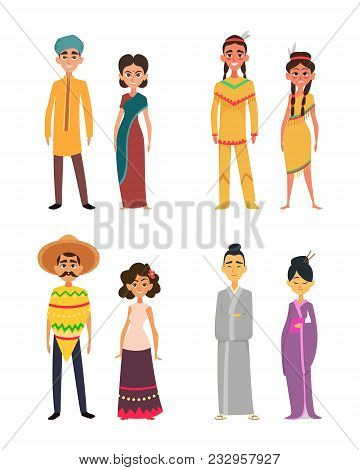 International Group Of Peoples Male And Female. Characters Of Different Nationalities. Mexican And J