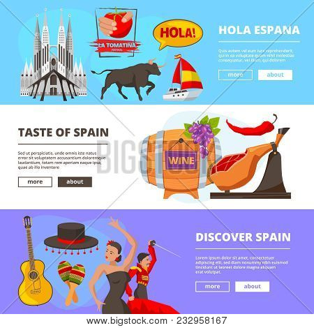 Horizontal Banners With Illustrations Of Cultural Objects Of Spain. Vector Of Culture Spain Banner,