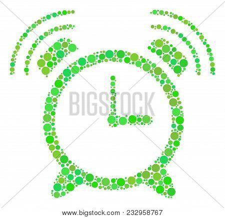 Buzzer Mosaic Of Filled Circles In Variable Sizes And Fresh Green Color Tones. Vector Filled Circles