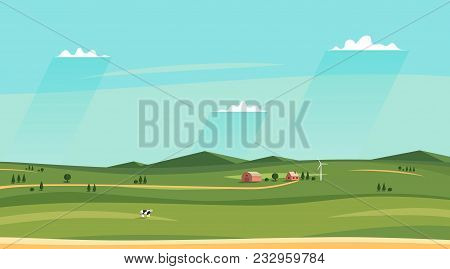 Summer Counryside Landscape. Horizontal Rural Sideview Landscape. Fields And Farm House, Sky With Cl