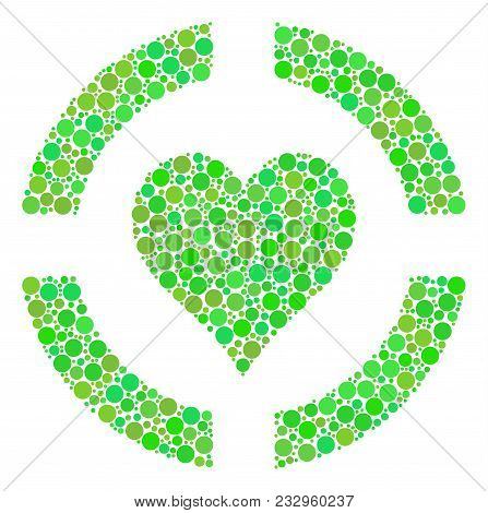 Casino Hearts Mosaic Of Filled Circles In Variable Sizes And Eco Green Shades. Vector Circle Element