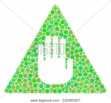 Caution Composition Of Circle Elements In Various Sizes And Eco Green Color Tones. Vector Circle Ele