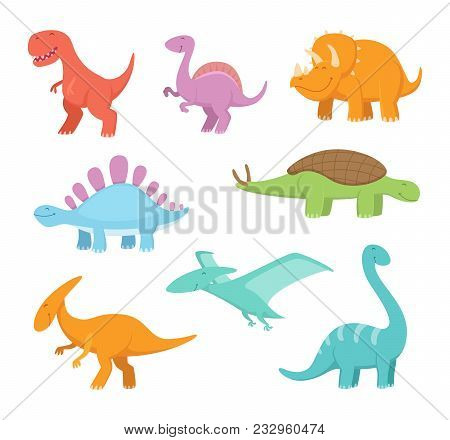 Cartoon Set Of Funny Dinosaurs. Vector Pictures Of Prehistoric Period. Dinosaur Prehistoric, Animal