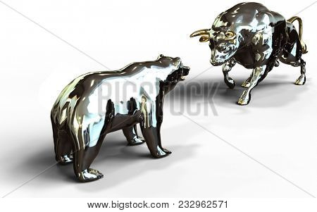 bull and bear stock market face off in battle for stock market financial growth futures