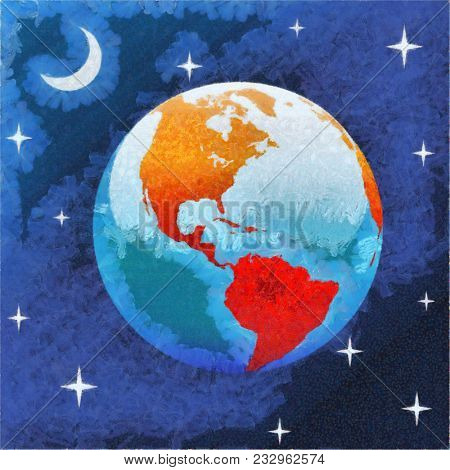 Impressionistic art painting of Earth western hemisphere in starry night in space with moon and stars