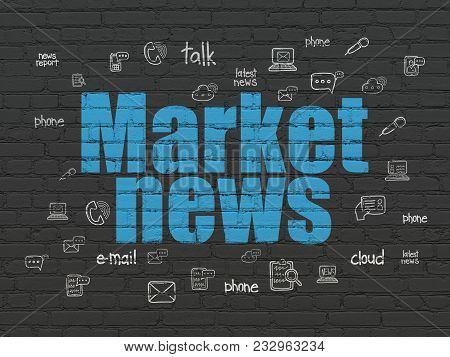 News Concept: Painted Blue Text Market News On Black Brick Wall Background With  Hand Drawn News Ico