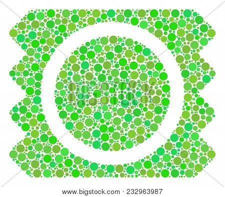 Condom Package Composition Of Circle Elements In Variable Sizes And Ecological Green Color Tones. Ve