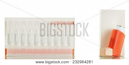 Portable Inhaler And Box Of Medicine For Inhalation, Isolated On White Background