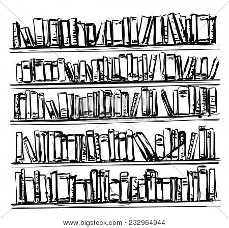 Bookshelves Sketch Hand Drawn Interior Elements Library