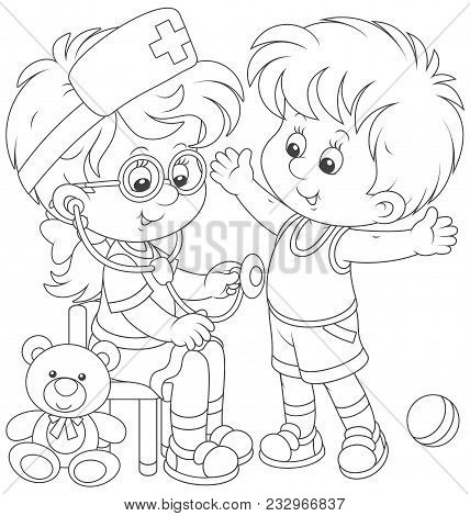 Little Kids Playing Doctor And Patient. Friendly Smiling Girl With A Toy Stethoscope Listening A Bel