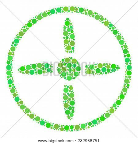 Drone Screw Composition Of Circle Elements In Different Sizes And Fresh Green Color Tones. Vector Ro