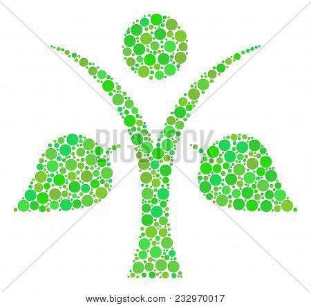 Ecology Man Mosaic Of Filled Circles In Variable Sizes And Ecological Green Color Tones. Vector Dots
