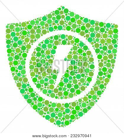 Electric Guard Mosaic Of Dots In Different Sizes And Fresh Green Color Tinges. Vector Dots Are Organ