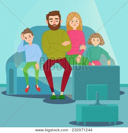 Bored Family Watching Tv. Television Addiction. Unhappy Parents With Children Sitting On Sofa Behind