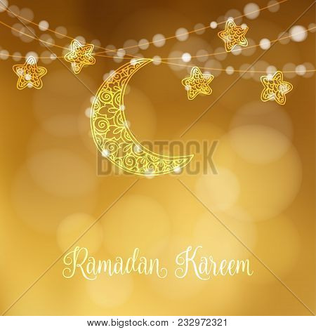 Hand Drawn Ornamental Moon And Stars. Festive Decoration, String Of Glittering Lights, Modern Festiv