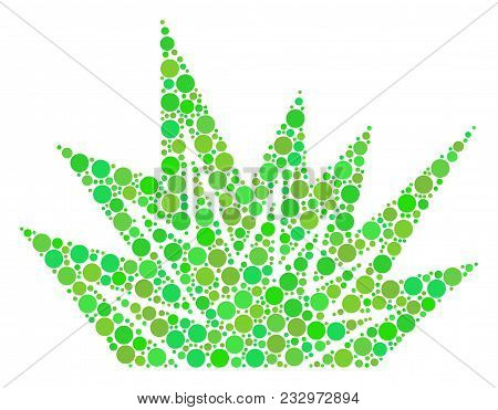 Explosion Boom Collage Of Filled Circles In Various Sizes And Fresh Green Color Tinges. Vector Round
