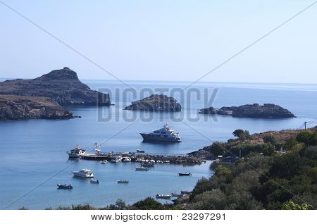 Blue sea, Lindos bay, Rhodes.
