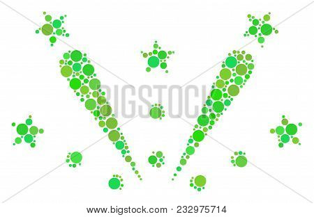 Fireworks Explosion Composition Of Filled Circles In Variable Sizes And Eco Green Color Tints. Vecto