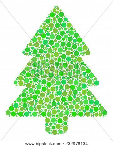 Fir-tree Mosaic Of Filled Circles In Different Sizes And Ecological Green Color Tinges. Vector Fille