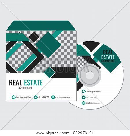Real Estate Business Cd Promotion Cover Template Vector Design With Green Rhombus Color Illustration