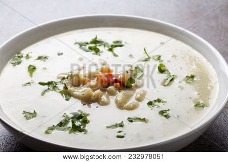 Romanian Traditional Soup - Ciorba De Burta In White Bowl